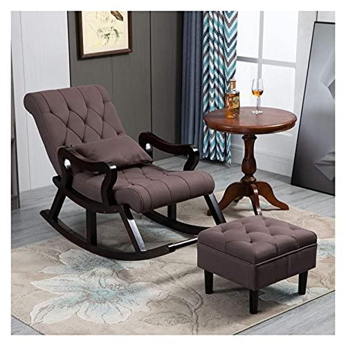 DGDF Silla mecedora de madera maciza de estilo chino, cómoda tecnología tela silla de hombre viejo, sofá reclinable, con reposapiés 125x67x89cm