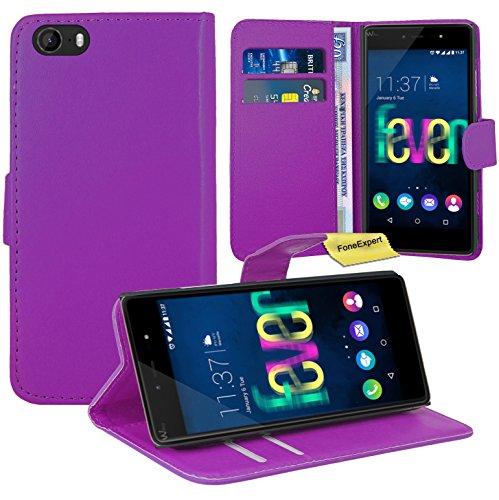 Wiko Fever 4G Handy Tasche, FoneExpert® Wallet Case Flip Cover Hüllen Etui Ledertasche Lederhülle Premium Schutzhülle für Wiko Fever 4G (Lila)
