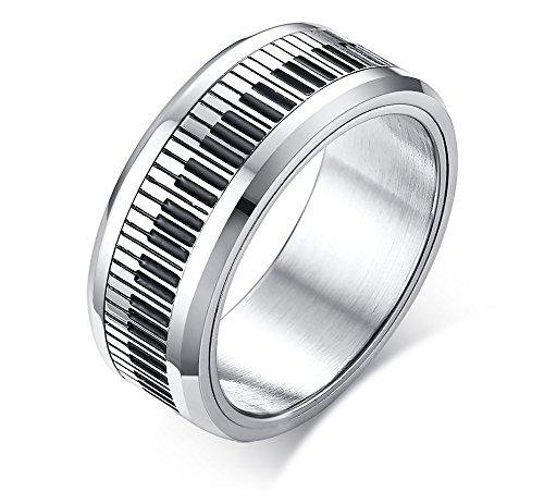 PJ JEWELRY Edelstahl Ringe für Männer Boy Piano Wedding Engagement Versprechen drehbare Band Ringe