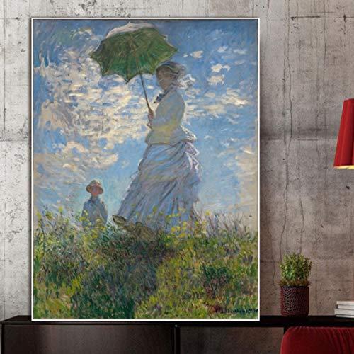 Danjiao Gemälde Leinwand Malerei Plakate Und Drucke Wandkunst Frau Mit Einem Sonnenschirm Von Monet Bild Für Wohnzimmer Home Decor Wohnzimmer 40x60cm