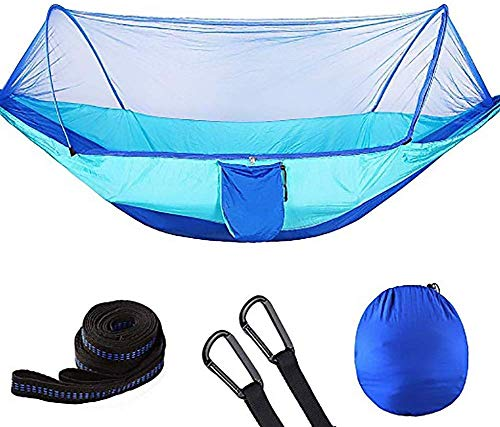 Pkfinrd Outdoor Survival Draagbaar Hangend Bed Multi-Functie Hangmat met Muggennet Ademende Sneldrogende Parachute Nylon 300kg Draagcapaciteit,250 * 120CM
