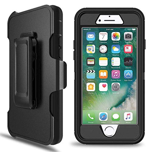LTifree Defender Case for iPhone 7 Plus, iPhone 8 Plus Case with Belt Clip(ONLY). Kickstand, Holster, Heavy Duty, Built in Screen Protector-Black