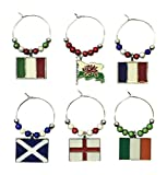 Lot de 6 fait à la main Rugby Six Nations Verre à vin Charms par Libby de place de marché ~ 3 options Cadeau, Métal, multicolore, Gift Box