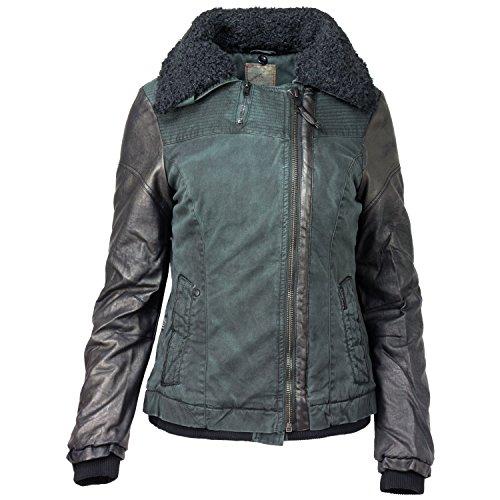 khujo Damen Winterjacke Biker Jacke Lammfellimitat, Farbe:Dark Pine;Größe:XXL