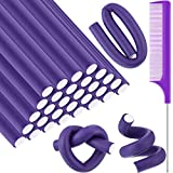 30 Pieces Flexible Curling Rods Twist Foam Hair Rollers Soft Foam No Heat Hair Rods Rollers and 1 Steel Pintail Comb Rat Tail Comb for Women Girls Long and Short Hair (9.45 x 0.55, Purple)