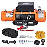 AC-DK 12000 lb. Load Capacity Electric Winch Kit,12V Truck Winch with Synthetic Rope,Waterproof IP67 Electric Winch with Hawse Fairlead,with Wireless Remote and Wired Handle(Orange)