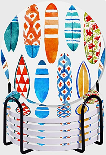 GUVICINIR Juego de 6 Posavasos de cerámica Absorbente con Base de Corcho,Apto para Tipos de Tazas,Patrón de Surf de Tabla de Surf de Acuarela Dibujada a Mano