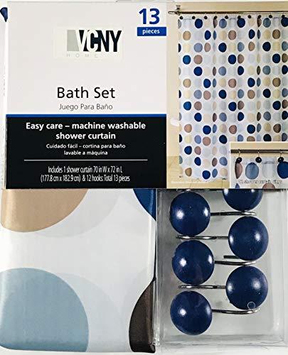 VCNY Home Bade-Set mit blau-braunen Kreisen, 1 Duschvorhang & 12 dekorativen Haken