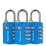 Paquete con 3 Candados para Equipaje TSA con Combinación de 4 Dígitos – Candado Resistente para Viajes, Equipajes, Maletas y Mochilas – Azul