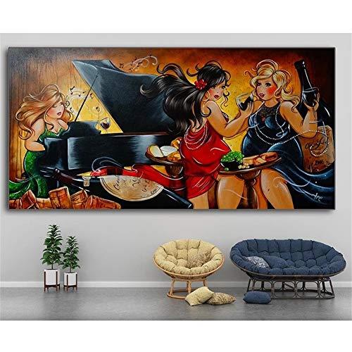 5D Kit de pintura de diamante con taladro completo, Señora gorda de dibujos animados DIY Diamond painting Rhinestone bordado de punto de cruz para decoración de la pared del hogar 30X60cm