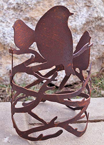 Edelrost Windlicht Vögel auf AST 25x15cm, inkl. Herz 8x6cm Garten Tischdeko Handarbeit Ring