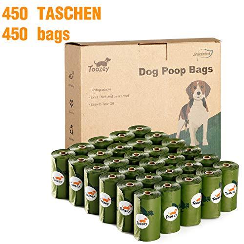Toozey 450 Hundekotbeutel Biologisch Abbaubar, Auslaufsicher & Ohne Duft, Extra Dick und Groß Hundetüten, Leicht Abzureißen, 30 Rollen