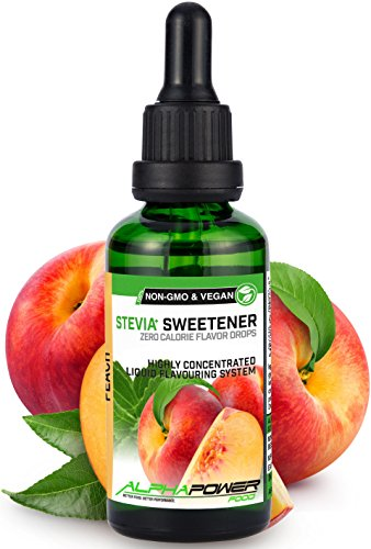 ALPHAPOWER FOOD Original Stevia Liquid Drops I Vegan - Natural flavouring - Peach & GMO-Free, 50ml, Sugar Free, for Baking, Water, Protein