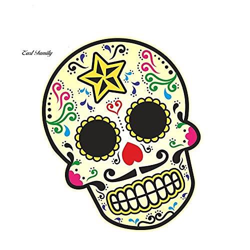A/X 13cmx10.7cm Día Mexicano de los Muertos Calavera de azúcar Multicolor con Bigote