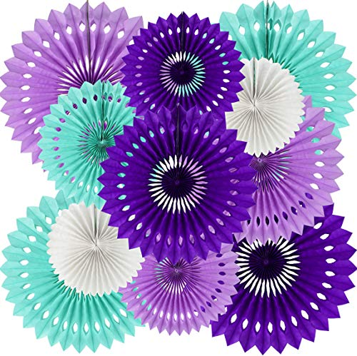 Purple Lavender Blue Hanging Honeycomb Round Paper Fans Decoration Kit Mermaid Theme Tissue Paper Fan Garland for Baby Shower Girl Kid 1st Birthday Under The Sea Frozen Wedding Party Supplies(11packs)