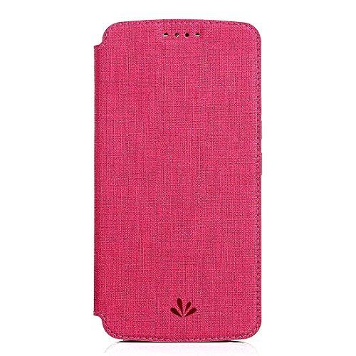Capa para Moto Z3 Play, capa carteira de couro ultra fina da Shunda para Motorola Moto Z3 Play à prova de choque com compartimentos para cartão e suporte flip (rosa)