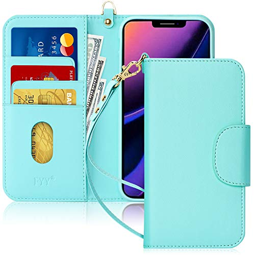 "FYY Case for iPhone 11 6.1"", [Kickstand Feature] Luxury PU Leather Wallet Case Flip Folio Cover with [Card Slots] and [Note Pockets] for Apple iPhone 11 6.1 inch Mint Green"