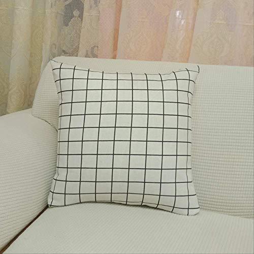 Cojín grueso de algodón y lino para sofá, cojín para casa suave, decorativo, cojín pequeño fresco, 60 x 60 cm, núcleo de cojín + funda de cojín de rejilla blanca