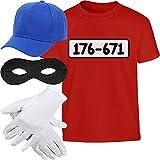 Kids Panzerknacker KOSTÜM + MÜTZE + Maske + Handschuhe Kinder T-Shirt 128 Rot