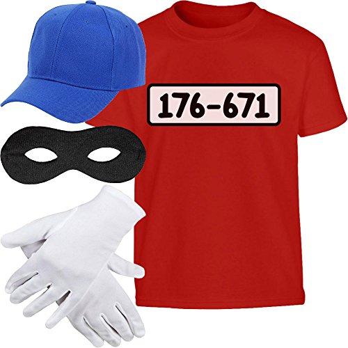 Kids Panzerknacker KOSTÜM + MÜTZE + Maske + Handschuhe Kinder T-Shirt 140 Rot