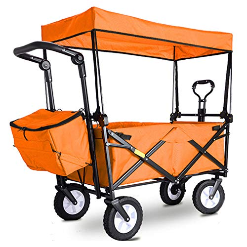 BSWL Klappbarer Bollerwagen im Freien, für den Supermarkt, Camping, Strand, Angeln, Gartenarbeit, Orange