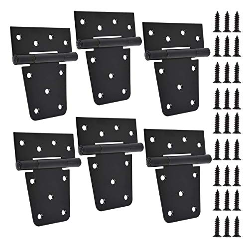 TamBee 3.5 inch Black Door Hinges Shed Hinges Square Barn Hinges Heavy Duty Gate Hinges T Hinges Barn Storage Shed Gate Black Finish with Screws (Pack of 6)