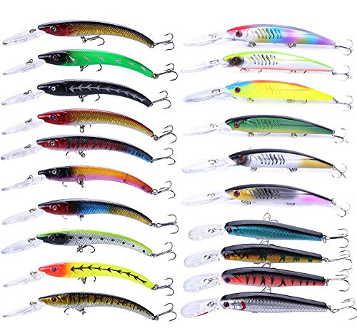 Fishing Lures Set Large Hard Bait Minnow Lure with Treble Hook Swimbait Fishing Bait Sinking Lure for Bass Trout Walleye Redfish Saltwater Freshwater (20PCS-C)
