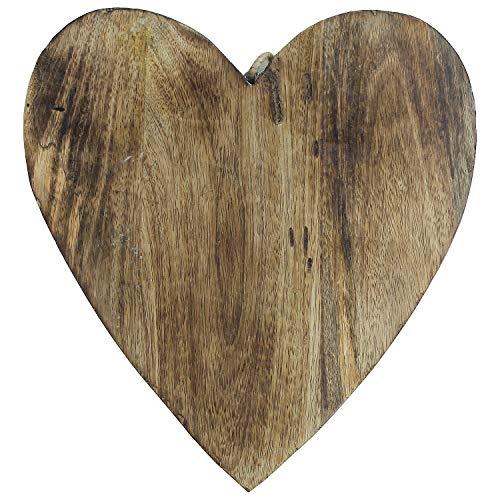 MACOSA NO53438 Design Herz-Anhänger Mangoholz | Holz Herz | Wand Dekoration | Valentinstag Hochzeit Hänger Aufhänger Landhausstil | 26 x 23,01 x 1 cm