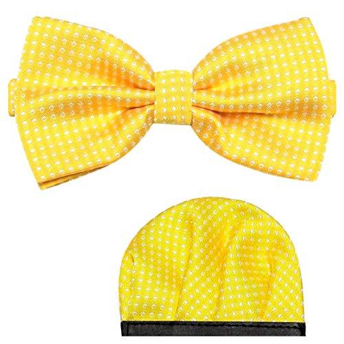 GASSANI 2Tlg Fliegenset Gepunktet, Gelbe Pünktchen Herren-Fliege, Polka Dots Hochzeitsfliege Anzug-Schleife Vor-Gebunden Ein-Stecktuch Vorgefaltet