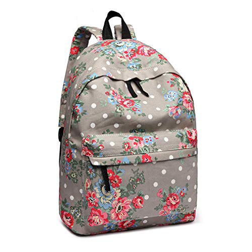 Kono Women Casual Daypack Backpack for Teenagers Students Girls Rucksack All-Over Flowers Polka Dots Printed Canvas School Bag Bookbag with Front Pocket (Grey)