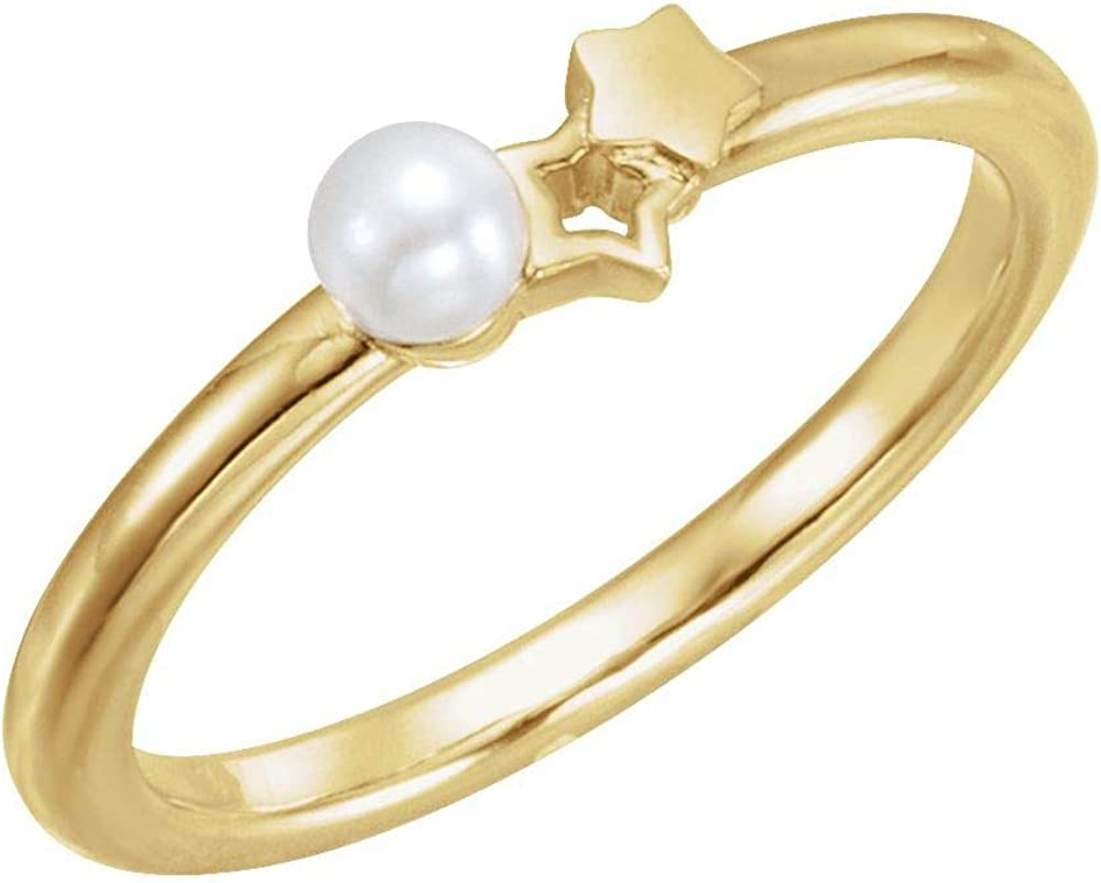 3 Three Stone Freshwater Cultured Pearl Girls Youth Child Double Star Ring Band (Width = 1.6mm)