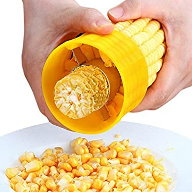 HaloVa Cob Corn Stripper, Corn Stripping Tool, Creative Home Kitchen Corn Cob Cutter Corn Peeler Cob Remover Corn Shucker, Plastic