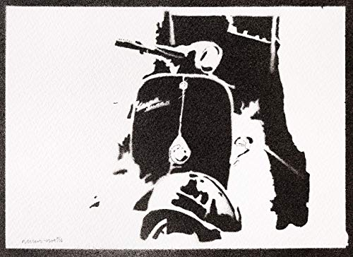 Scooter Vespa Poster Handmade Graffiti Street Art - Artwork