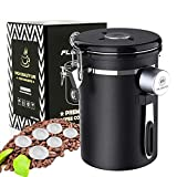 Coffee Canister, Coffee Container Airtight Stainless Steel Food Storage Jar with Date Tracker, One Way Co2 Valve and Scoop, Fresher Beans and Grounds for Longer, 6 CO2 Valve Filters, 22 oz(Black)
