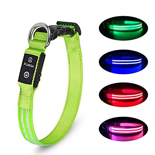 PcEoTllar LED Hundehalsband Wiederaufladbare USB 100% Wasserdichtes Leuchtendes Hunde Halsband Einstellbare für Kleine Mittlere Große Hunde - Grün - M