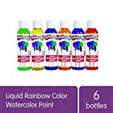 Colorations Liquid Watercolor Paint, 4 fl oz, Set of 6, Non-Toxic, Painting, Kids, Craft, Hobby, Fun, Water Color, Posters, Cool Effects, Versatile, Gift