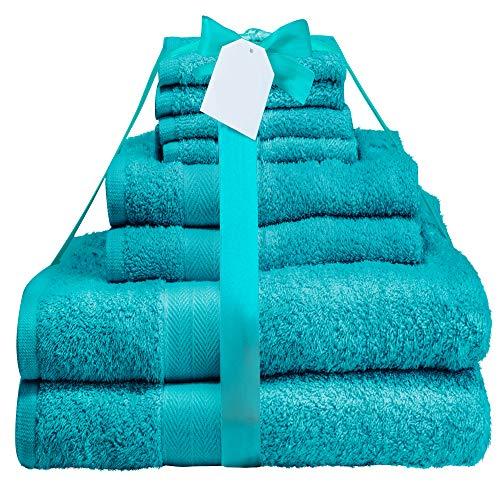Midland Beddings Juego de Toallas de algodón de 8 Piezas, Hilos de 400 g/m²