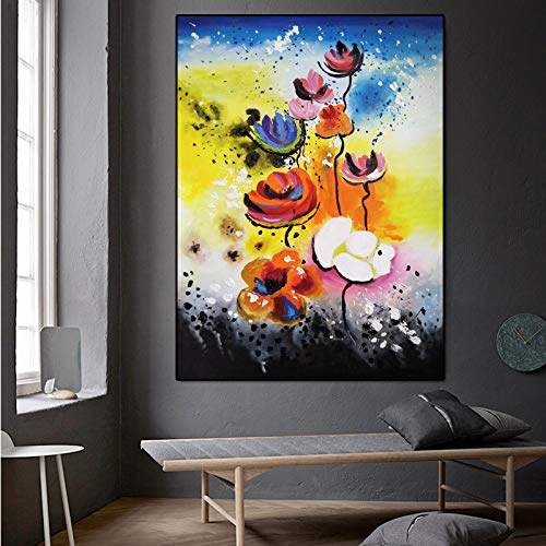 SADHAF Abstract Typografische Kleurrijke Bloem pop Art Canvas Schilderen Muur Kunst Poster Muurfoto voor Woonkamer Decoratie 60x90cm (no frame) A5