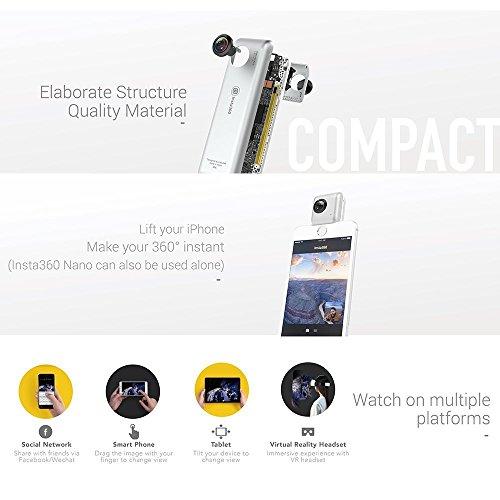 Insta360Nano Compact Mini Panoramic 3K HD Video 210Degree Dual - 9