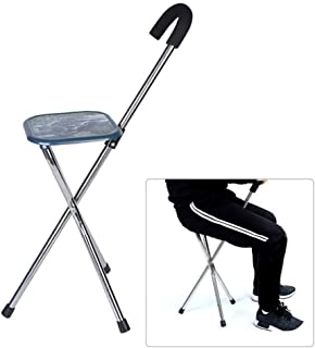 Portable 2 in 1 Folding Aluminium Lightweight Walking Stick with Seat Mobility Tripod Stool Walking Cane Chair for Elder