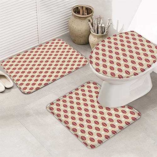 Merry Christmas Bathroom Rug Mat Set 3 Piece Non-Slip Bath Mat Pedestal Rug+ U Shaped Contour Mat + Lid Toilet Cover Pad Bathroom Accessories Christmas Balls Stars Decor Happy New Year