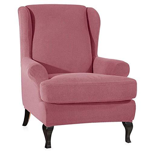 Jacquard Sesselbezug, Sessel-Überwürfe Ohrensessel Überzug Bezug Sesselhusse Elastisch Stretch Husse Für Ohrensessel 2-teilig Armlehnenbezug Abnehmbar, Möbelbezug (Pink)