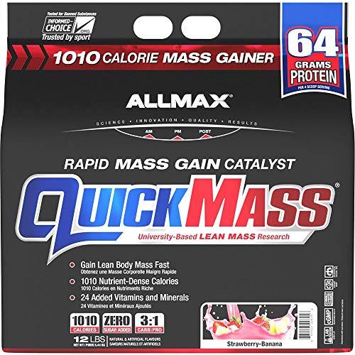 ALLMAX Nutrition - QUICKMASS - Weight Gainer & Rapid Gain Catalyst, Strawberry-Banana, 12 Pound (665553216102)