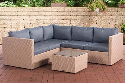 CLP Polyrattan Lounge-Set Genero l Garten-Set Mit 5 Sitzplätzen l Komplett-Set: 3er Sofa + 2er Sofa + Tisch I Garnitur Mit Aluminium-Gestell, Farbe:Sand, Polsterfarbe:Eisengrau