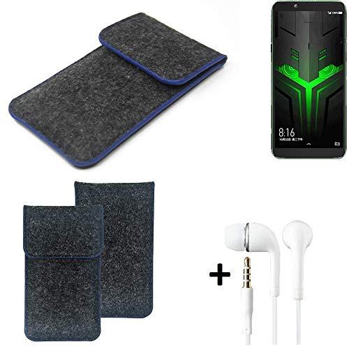 K-S-Trade Filz Schutz Hülle Für Xiaomi Blackshark Helo Schutzhülle Filztasche Pouch Tasche Handyhülle Filzhülle Dunkelgrau, Blauer Rand Rand + Kopfhörer