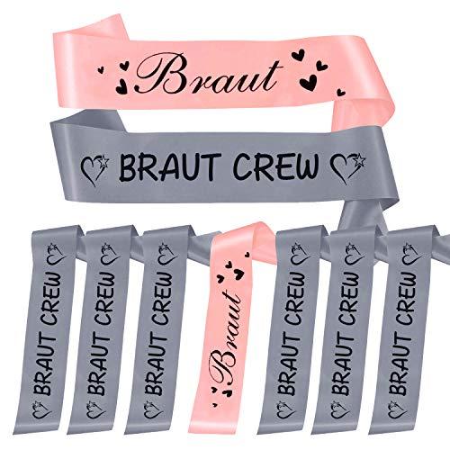 Oblique Unique® Braut + Braut Crew Schärpe Set Junggesellinnenabschied JGA Hochzeit in Rosa und Grau
