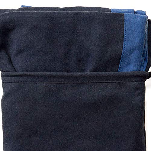Telo Mare Coprilettino In Morbida Microfibra Con Tasche Colori Vari L387 Blu