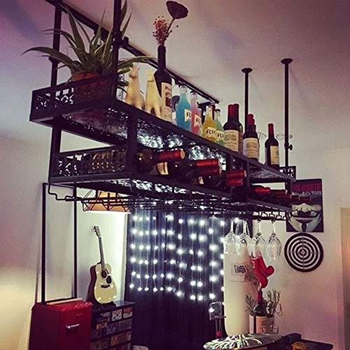 HOMERACK wijnrekken opknoping wijnrek ondersteboven wijnglazen houder eenvoudige dubbele laag opknoping wijnglas standaard ijzer proces plafond decoratie plank voor thuis restaurant/bar Chihen
