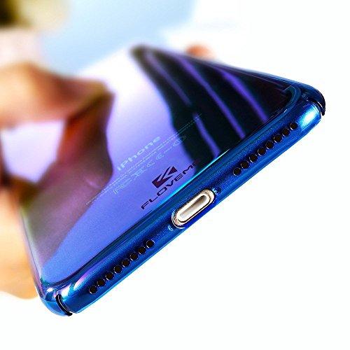 Funda iPhone 6S Plus, FLOVEME Ultra Fino Color Gradiente Enchapado Peso Ligero PC Antideslizante Cubierta Protectora Transparente para Apple iPhone 6 Plus & iPhone 6S Plus - Azul