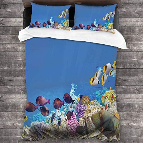 BEITUOLA Juego de Funda nórdica,Escuelas de Peces Nadando sumergidas Arrecifes de Coral Antiguos Naturaleza Mundo Marino,1 Funda de Edredón y 2 Fundas de Almohada 140 x 200cm